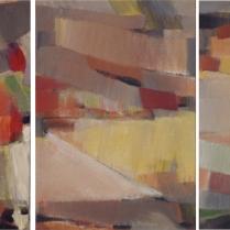 """""""Moissons"""". Acrylique sur toile, [73 x 50 cm] x 3, 2003"""
