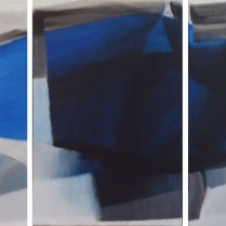 """""""Black & Blue III"""" - Acrylique sur bois, [75 x 50 cm] x 3, 2012"""