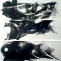 Pastel gras sur papier, [40 x 128 cm] x 3