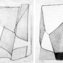 """""""Suite solo"""", 1 et 2/18. Mine de plomb sur vélin d'Arches, [21 x 18 cm] x 2, 2004-2005"""