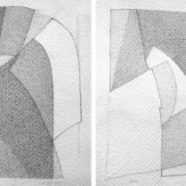 """""""Suite solo"""", 11 et 12/18. Mine de plomb sur vélin d'Arches, [21 x 18 cm] x 2, 2004-2005"""