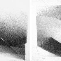 """""""Suite solo"""", 15 et 16/18. Mine de plomb sur vélin d'Arches, [21 x 18 cm] x 2, 2004-2005"""