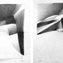 """""""Suite solo"""", 17 et 18/18. Mine de plomb sur vélin d'Arches, [21 x 18 cm] x 2, 2004-2005"""
