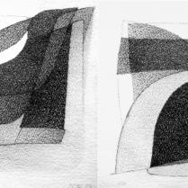 """""""Suite solo"""", 3 et 4/18. Mine de plomb sur vélin d'Arches, [21 x 18 cm] x 2, 2004-2005"""