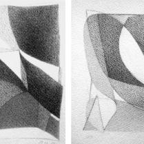 """""""Suite solo"""", 5 et 6/18. Mine de plomb sur vélin d'Arches, [21 x 18 cm] x 2, 2004-2005"""