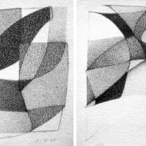 """""""Suite solo"""", 7 et 8/18. Mine de plomb sur vélin d'Arches, [21 x 18 cm] x 2, 2004-2005"""