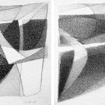 """""""Suite solo"""", 9 et 10/18. Mine de plomb sur vélin d'Arches, [21 x 18 cm] x 2, 2004-2005"""