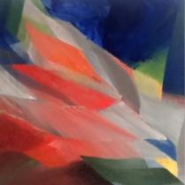 """""""Chromochromie"""". Acrylique sur bois, [100 x 100 cm] x 3, 2017"""