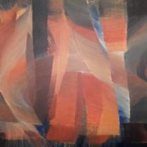 """""""Walking bass II"""". Acrylique sur bois, 80 x 120 cm, 2017"""